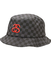 Stussy Checkerboard Black Bucket Hat