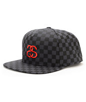 Stussy Checkerboard Black Snapback Hat