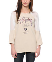 Stussy Cold Shoulder Cream Tunic Sweatshirt