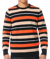 Stussy Country Stripe Black & Orange & Tan Crew Neck Sweater