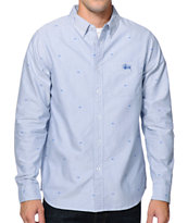 Stussy Crown Oxford Blue Long Sleeve Woven Button Up Shirt