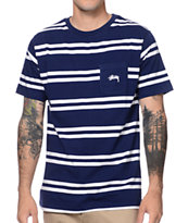 Stussy Double Stripe Navy Pocket Tee Shirt