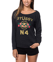 Stussy Girls  No. 4 Checkered Charcoal Crew Neck Sweatshirt