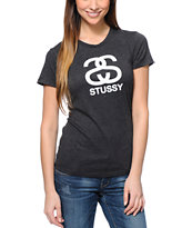 Stussy Girls Heather Charcoal Tee Shirt