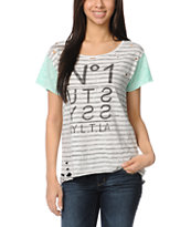 Stussy Girls Neon Blocked Striped Tee Shirt