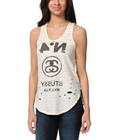 Stussy Girls Neon Blocked Yellow Striped Tank Top