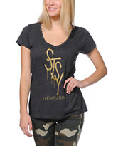 Stussy Girls Noir Charcoal V-Neck Tee Shirt