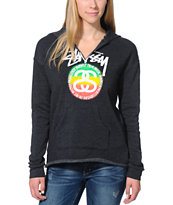 Stussy Girls Rasta Stock Link Charcoal Pullover V-Neck Hoodie