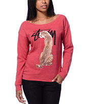 Stussy Girls Stock Cheetah Faded Red Crew Neck Sweatshirt