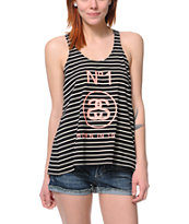 Stussy Girls Striped Split Black & White Tank Top