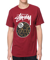 Stussy Gold Flake 8 Ball Burgundy Tee Shirt