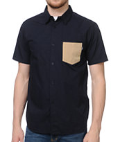 Stussy Grant Navy Woven Button Up Shirt