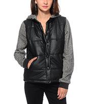 Stussy Leatherette Puff Vest Hoodie