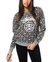 Stussy Leopard Crew Neck Sweatshirt