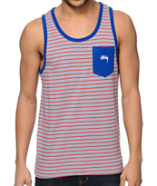Stussy Nicholas Grey & Red Stripe Pocket Tank Top
