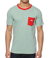 Stussy Nicholas Mint Stripe Pocket Tee Shirt