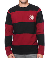 Stussy No Bigga Black & Red Stripe Long Sleeve Shirt