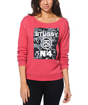 Stussy No. 4 Camo Block Faded Red Crew Neck Sweatshirt