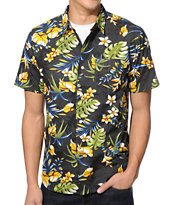 Stussy Paradise Black Short Sleeve Button Up Shirt