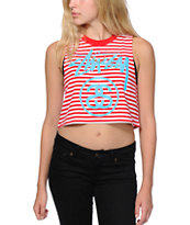Stussy Red Stripe Crop Muscle Tank Top