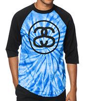 Stussy S Link Spiral Tie Dye Baseball T-Shirt