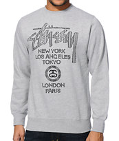 Stussy Safari World Tour Heather Grey Crew Neck Sweatshirt