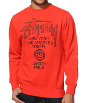 Stussy Safari World Tour Red Crew Neck Sweatshirt