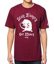 Stussy Stay Hungry Burgundy Tee Shirt