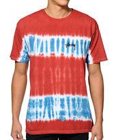 Stussy Stock Stripe Tie Dye T-Shirt