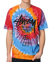 Stussy Swirl Orange & Black Tie Dye Tee Shirt