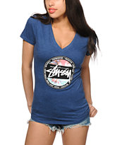 Stussy Tie Dye Dot V-Neck T-Shirt