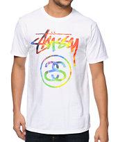 Stussy Tie Dye Stock Link White T-Shirt