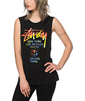 Stussy Tie Dye World Tour Black Muscle Tee