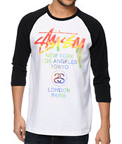 Stussy Tie Dye World Tour White & Black Baseball T-Shirt