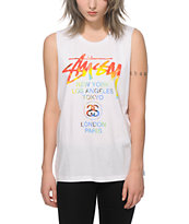 Stussy Tie Dye World Tour White Muscle Tee