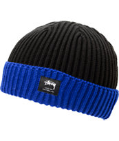 Stussy Two Tone Black & Blue Fold Beanie