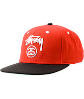 Stussy Two Tone Red Snapback Hat