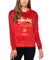 Stussy Velour Crew Neck Sweatshirt