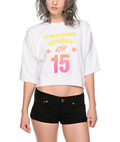 Stussy World Champs Crop Crew Neck Sweatshirt