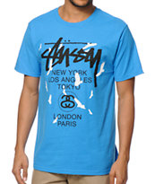 Stussy World Tour Birds Royal Blue Tee Shirt