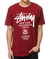 Stussy World Tour Burgundy Tee Shirt
