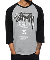 Stussy World Tour Drip Baseball T-Shirt