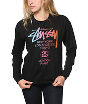 Stussy World Tour Fade Black Crew Neck Sweatshirt