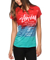 Stussy World Tour Red & Aqua Tie Dye T-Shirt
