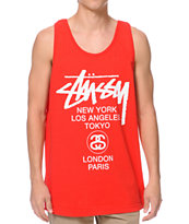Stussy World Tour Red Tank Top