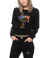 Stussy World Tour Tie Dye Crop Crew Neck Sweatshirt