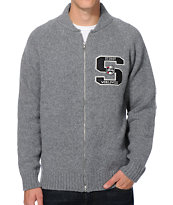 Stussy Worldwide Grey Zip Up Sweater