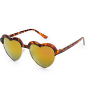 Sugar Mirror Retro Tortoise Shell Heart Sunglasses