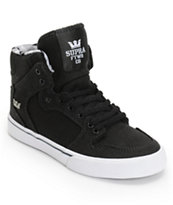Supra Boys Vaider Black & White Skate Shoe