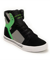 Supra Kids Skytop Black, Green, & Grey Skate Shoe